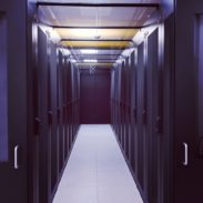 modern server room with black servers and hardwares in a internet data center